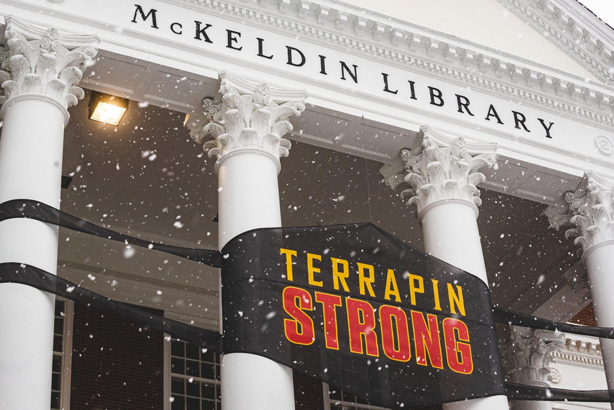 Giant Terrapin Strong Mask on the front of McKeldin Library with snow flurries